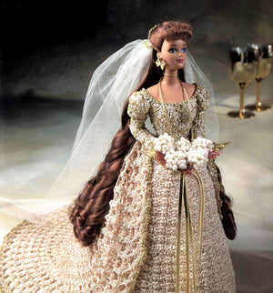 Doll's Crochet Wedding Dress Pattern, 11.1/2 inch Doll, Instant Download