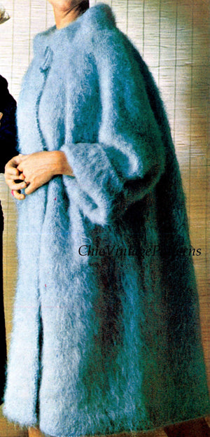 Ladies Knitted Mohair Coat Pattern, Stylish Warm and Cosy, Instant Download