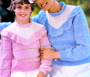 Mother & Daughter Knitted Sweater Pattern,  Matching Jumpers, Digital Pattern