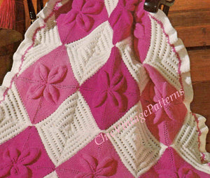 Knitted Afghan Rug Pattern, Throw Rug, PDF Knitting Pattern