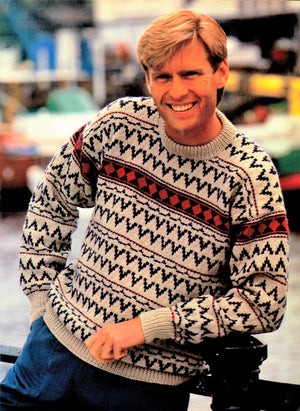 Mens Knitted Sweater Pattern, Vintage Fair Isle Jumper, PDF Knitting Pattern