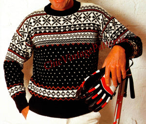 Knitted Men's Sweater and Cap Pattern, Fair Isle, Instant Download