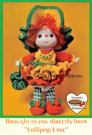 "Lollipop Lane Doll Pattern, ""Orange Marmalade"", Instant Download"