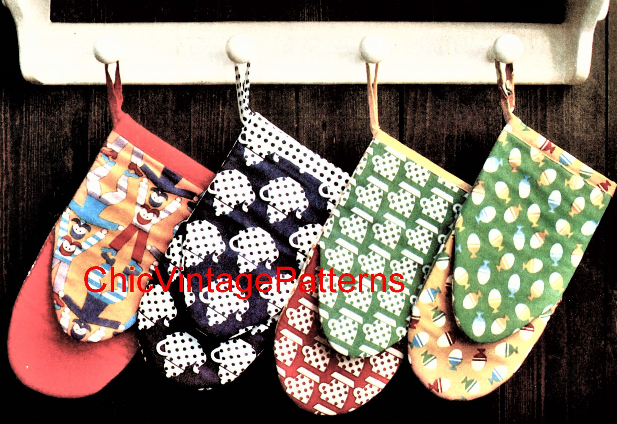 Oven Gloves Sewing Pattern, Kitchen Mitts, Home Decor, Instant Download