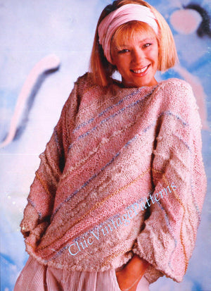 Knitted Ladies Sweater Pattern, Attractive Loose Sleeve Design, Digital Pattern