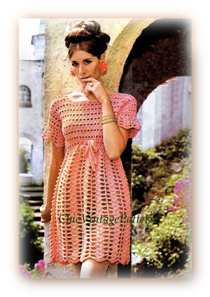 Crochet Ladies Dress Pattern, Party Dress, Wedding Gown, Digital Pattern