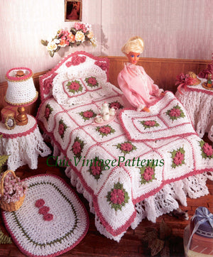 Crochet Doll's Bedroom Room Furniture Pattern, Instant Download