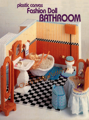 Plastic Canvas Doll Bathroom Pattern, Instant Download