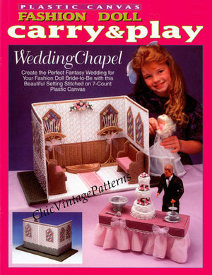 Plastic Canvas Fashion Doll Wedding Chapel Pattern, Instant Download