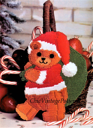 Plastic Canvas Christmas Pattern, Santa Teddy Decoration, Instant Download