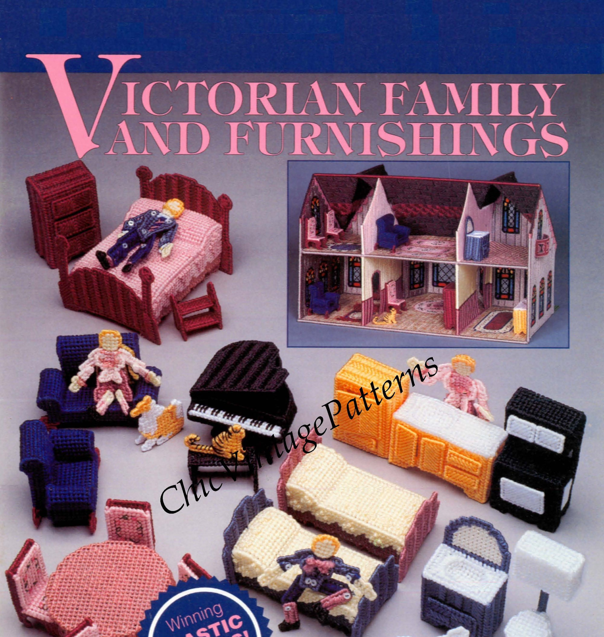 Plastic Canvas Doll's House Family and Furnishings Pattern, Instant Download