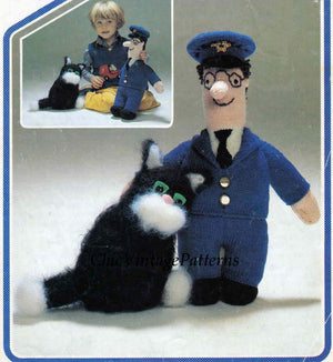 Postman Pat and Cat Knitting Pattern, Instant Download