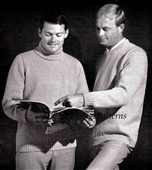 Easy Men's Sweater Knitting Pattern, Polo, Crew or V Neck, Instant Download