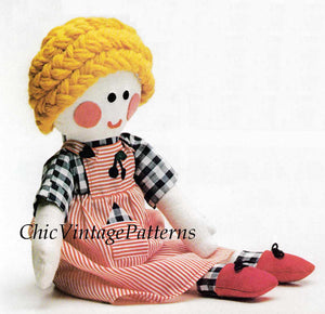 Rag Doll Sewing Pattern, Boy and Girl Doll, Instant Download