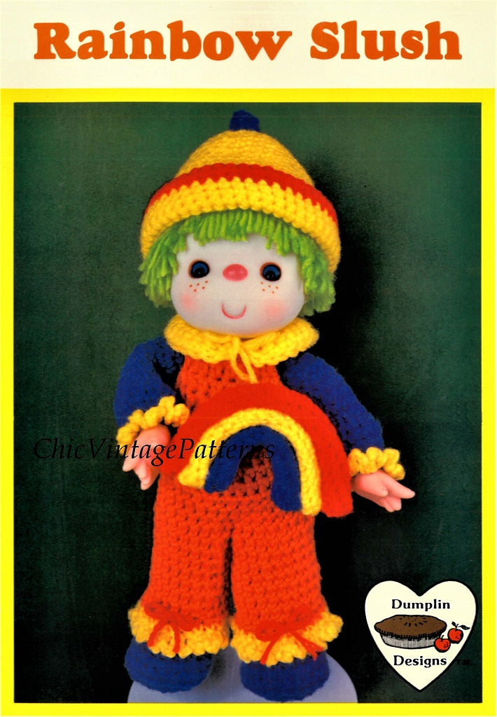 "Crochet Cupcake Corner Doll Pattern, ""Rainbow Slush"", Digital Pattern"