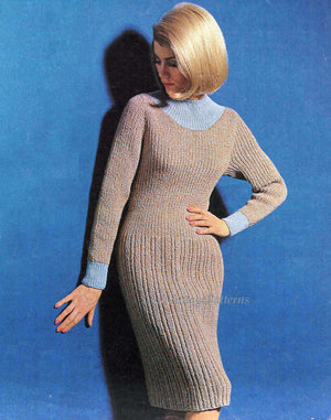 Ladies Knitted Dress Pattern, Ribbed Dress, Stylish, Elegant, Instant Download
