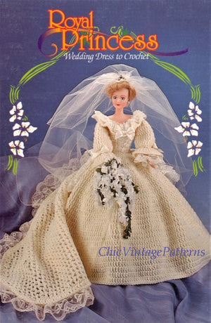 Princess Crochet Doll's Wedding Dress Pattern, Instant Download