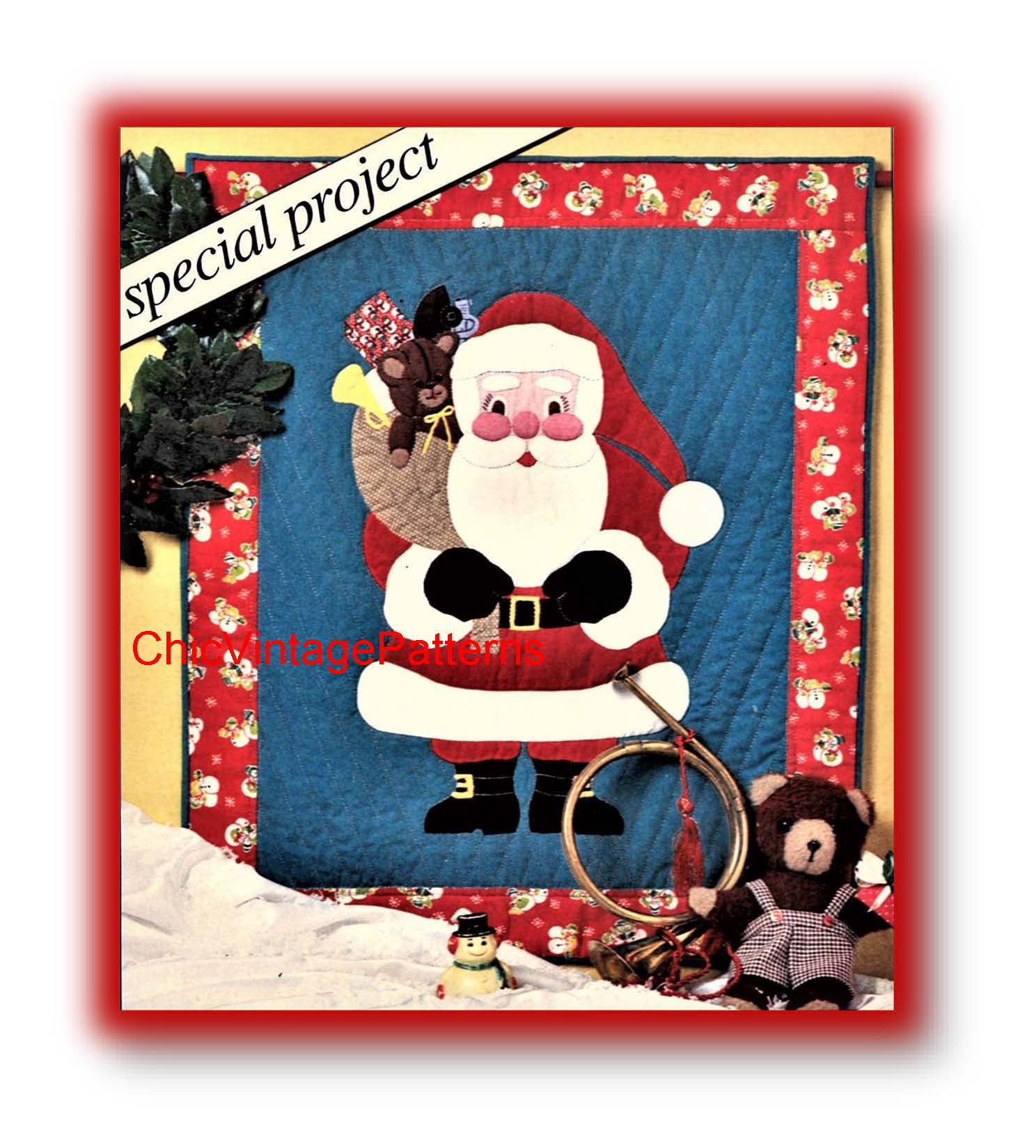 Quilted Santa Claus Wall Hanging, Christmas Wall Decor, Patchwork PDF Pattern