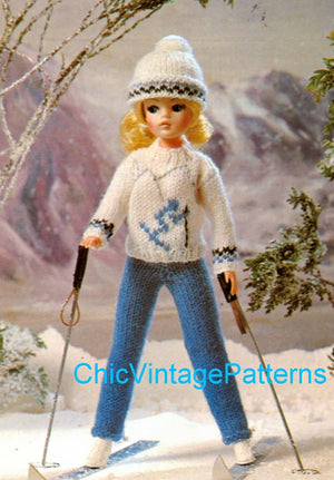 Knitted Doll's Ski Outfit Pattern, 11 inch Doll, Instant Download, Fashion Doll