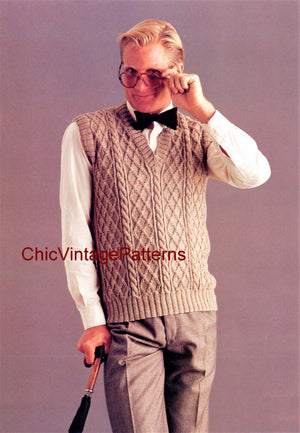 Men's Vest Knitting Pattern, Vintage Sleeveless Vest, Instant Download