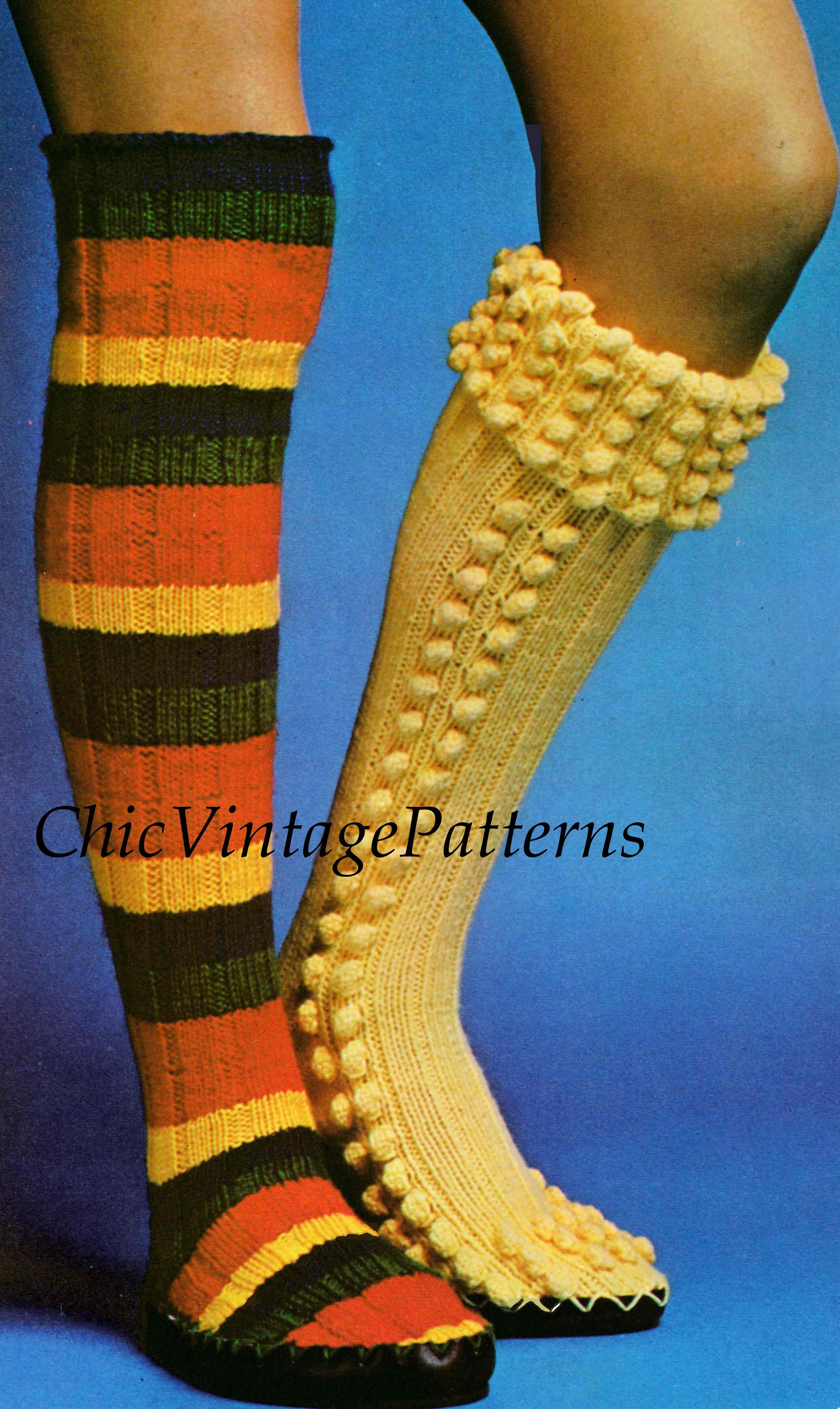 Ladies Knitted Slipper Socks Pattern, Two Styles, Digital Knitting Pattern