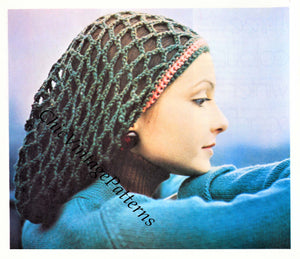 Crochet Hat Pattern, Ladies Crochet Snood, Instant Download
