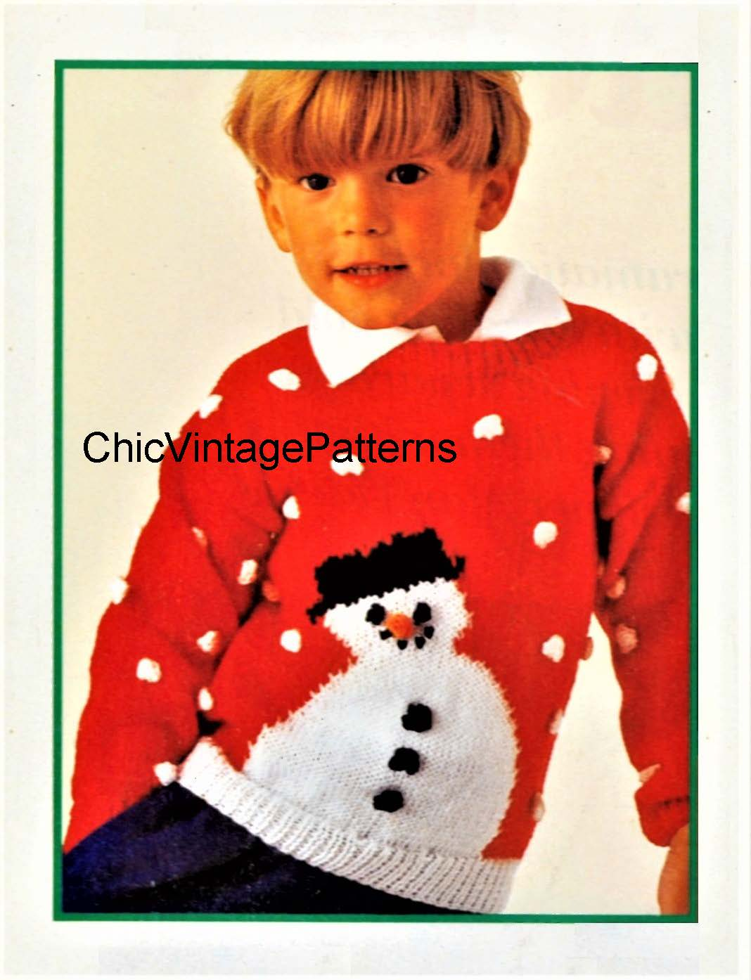 Children's Snowman Knitted  Jumper Pattern, Digital Download