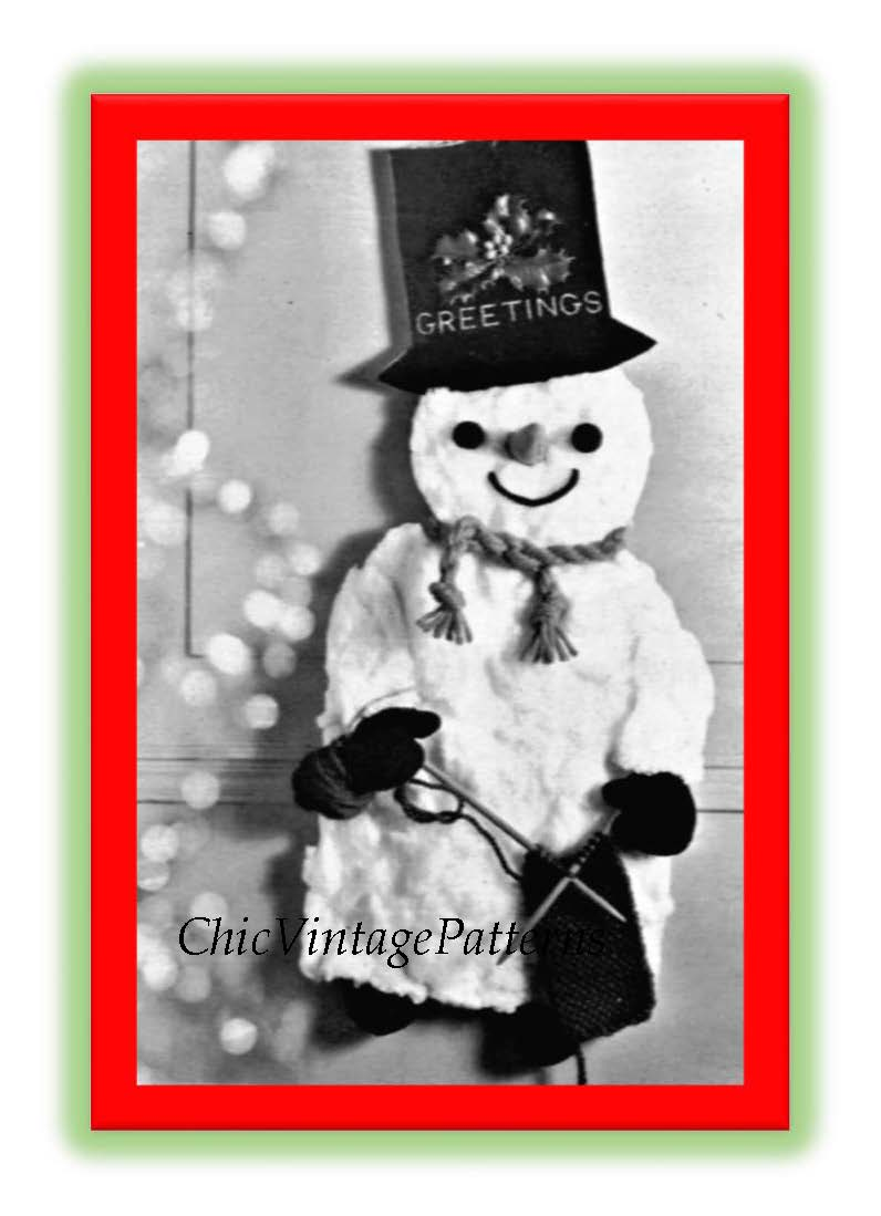 Christmas Snowman Pattern, Craft PDF Pattern, Instant Download