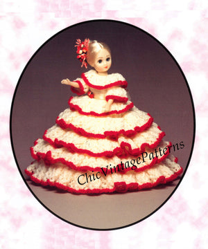 Knitted Doll's Dress Pattern, Victorian Period Dolls Dress, PDF Knitting Pattern