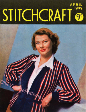 Vintage Stitchcraft Book, April 1949, Instant Download, 9 Patterns