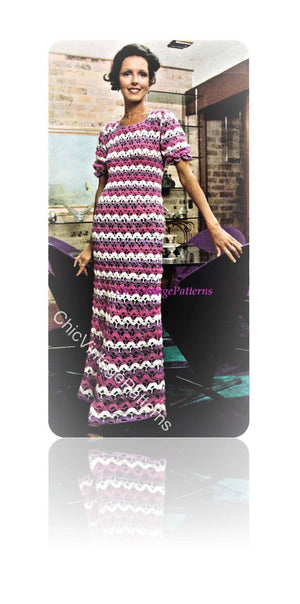 Crochet Dress Pattern, Ladies Summer Hostess Dress, Digital Pattern