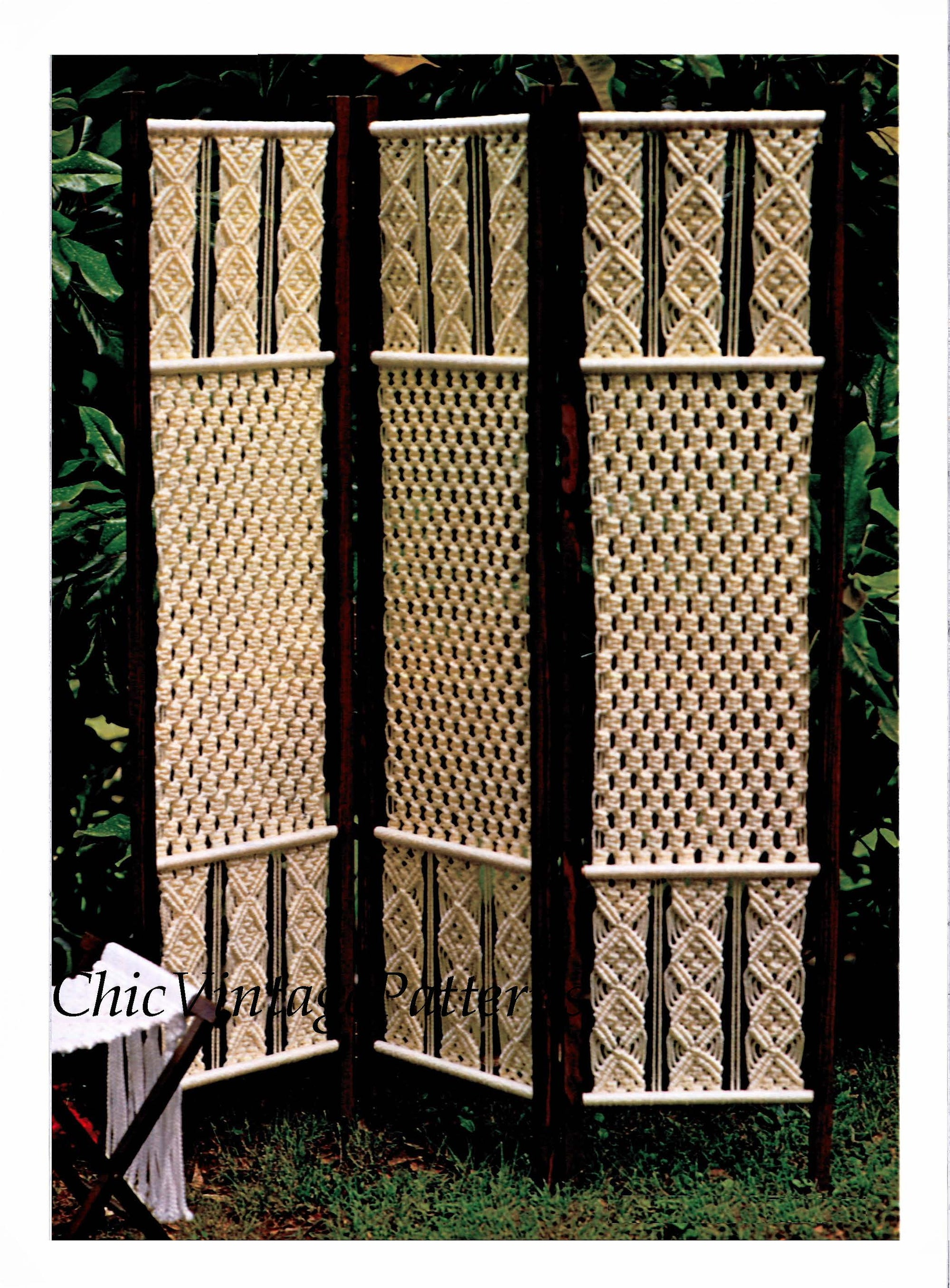 Macrame Folding Screen Pattern, Room Divider, Instant Download