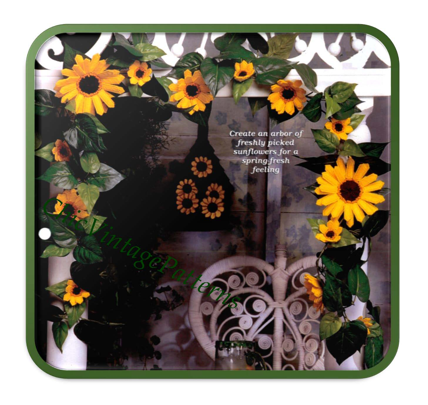 Plastic Canvas Sunflower Garland, Instant Download Pattern