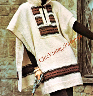 Knitted Ladies Tabard or Poncho with Hood Pattern, Instant Download