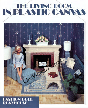 Plastic Canvas Living Room Pattern, Fashion Doll, Instant Download