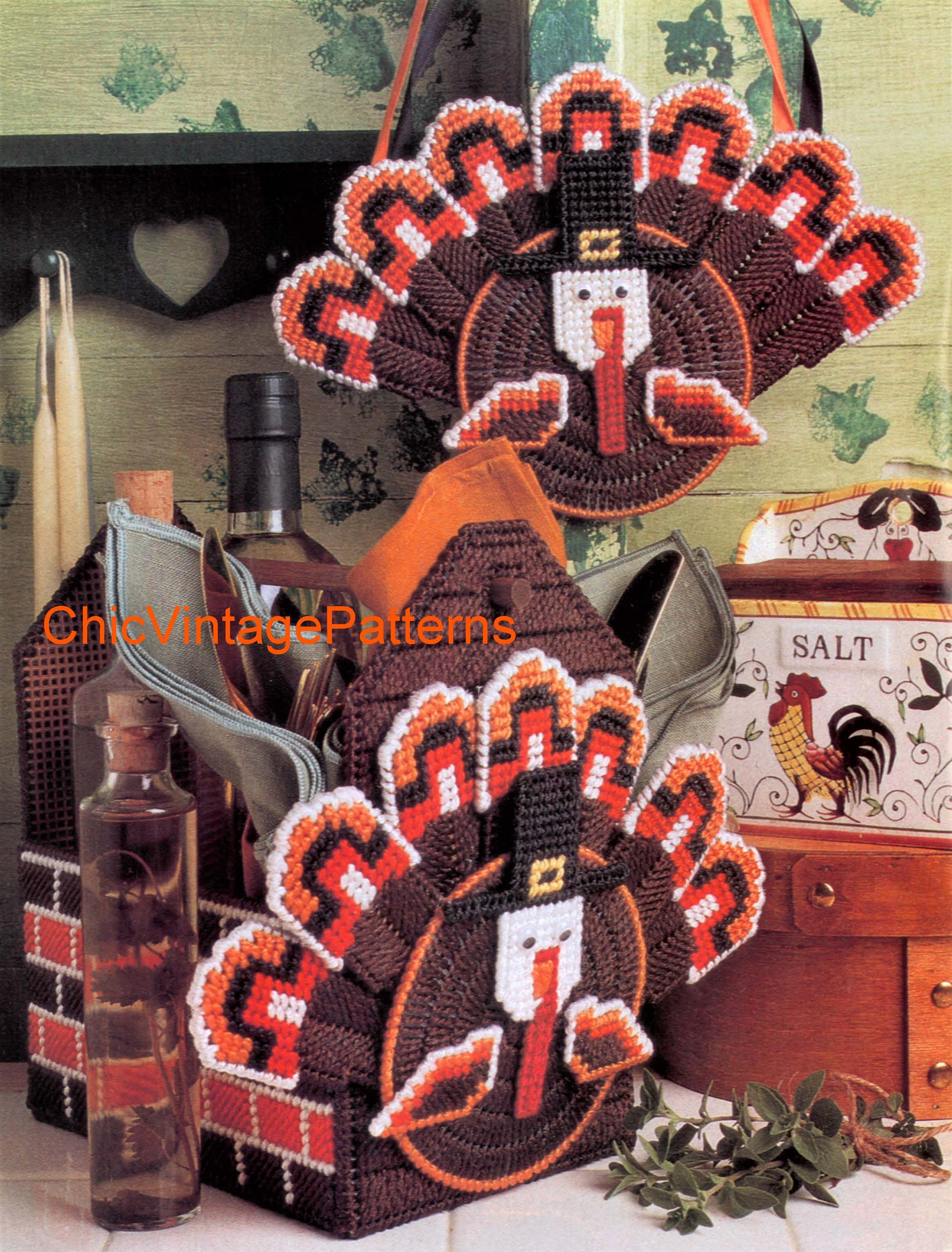 Plastic Canvas Thanksgiving Turkey Wall Hanging or Napkin Holder, Instant Download