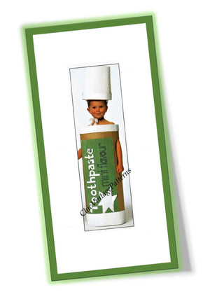 Easy Children's Costume, Cardboard Toothpaste Tube Fancy Dress, PDF Pattern