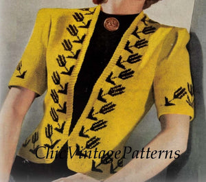 Ladies Short Sleeve Jacket Coat Knitting Pattern, Instant Download