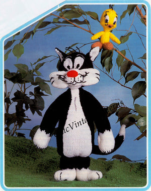 Tweety and Sylvester Knitting Pattern, Soft Toy, Digital Pattern