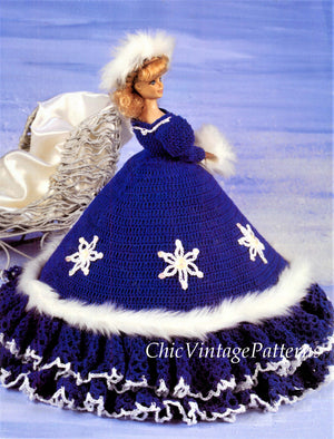 Crochet Fashion Doll Winter Outfit, 11.1/2 inch Doll, Instant Download