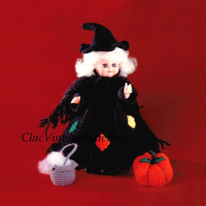 Doll Witch Dress Pattern, Instant Download, Halloween, 13 inch Doll