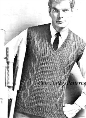 Vintage Sleeveless Vest Knitting Pattern, Cabled Slipover, Instant Download