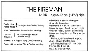 Knitted Soft Toy Pattern, Fireman Sam Doll, Instant Download Pattern