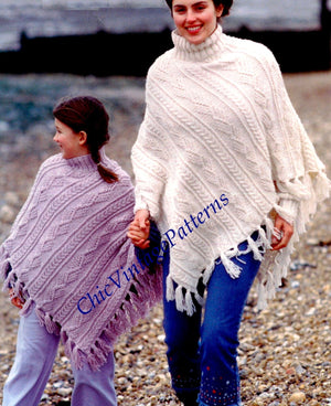 Knitted Aran Poncho Pattern, Ladies and Child's, Fringed, Digital Download