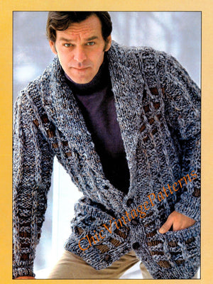 Men's Jacket Knitting Pattern, Windowpane Cardigan, Instant Download