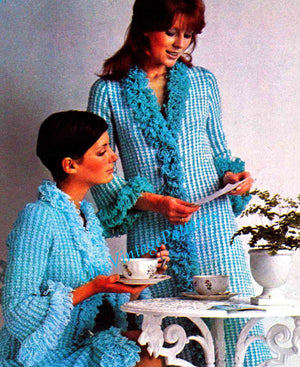 Ladies Knitted Dressing Gown Pattern, Retro Lounge Coat, Instant Download