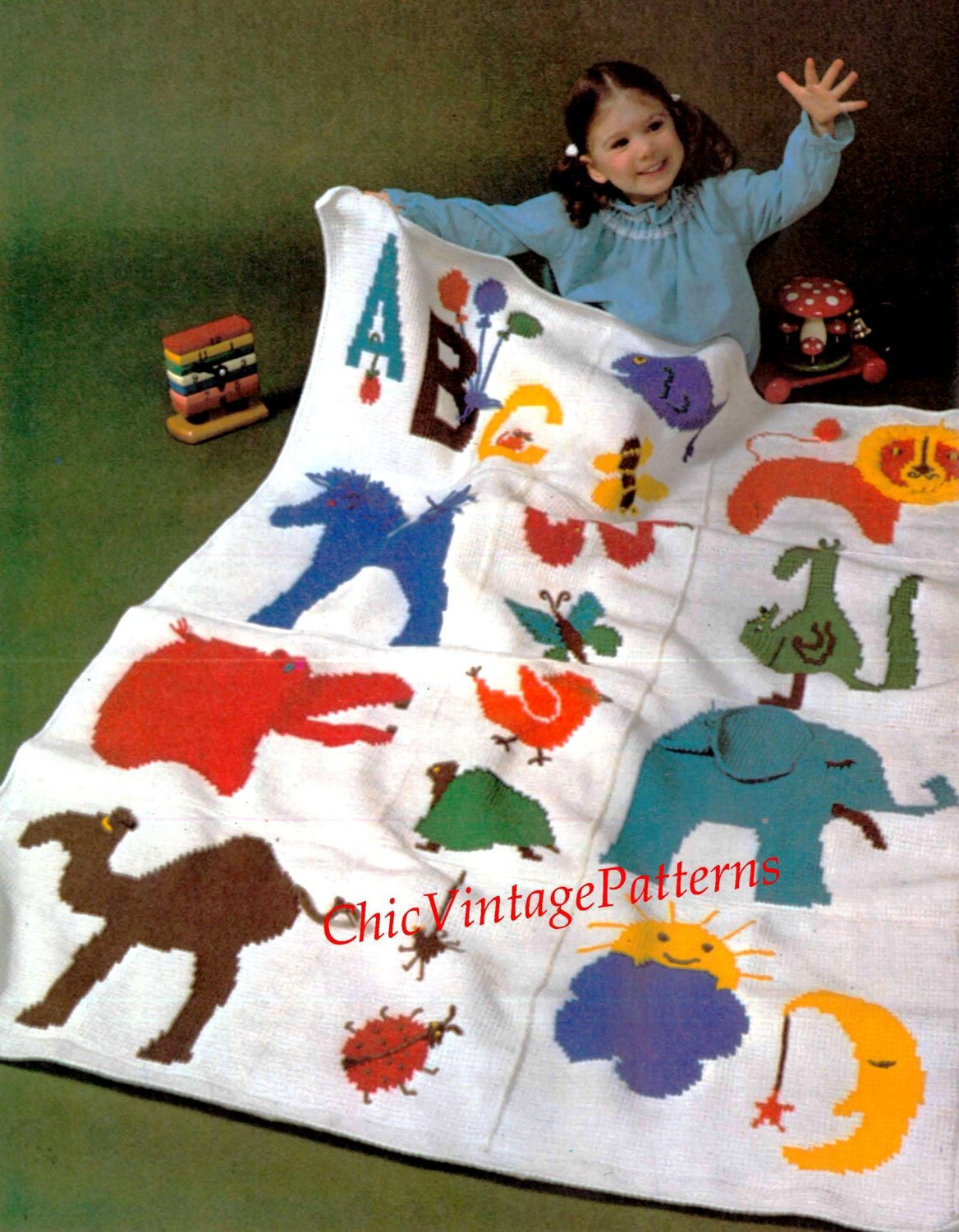 Crochet Pattern, Children's Zoo Afghan, Cot Rug, Instant Download