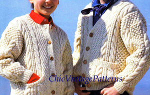 Children's Cardigan Aran Knitting Pattern, Fisherman's Cable , Instant Download