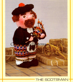 Knitted Soft Toy Pattern, The Scotsman Doll, Instant Download
