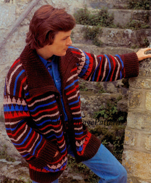 Men's Striped Jacket Pattern, Retro Knitted Men's Jacket,  Instant Download